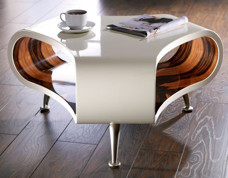 Cool And Modern White Coffee Table In Unique Design