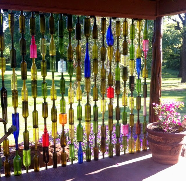 cool decorative fence idea made of unused bottles - Decorative Fencing