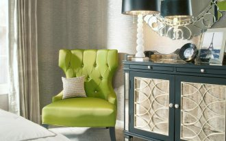 Corner Lime Green Accent Chair Next To Luxury Cabinet With Table Lamp And Round Mirror