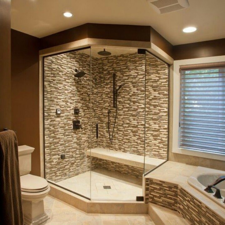 Nice shower ideas for master bathroom homesfeed for Nice bathroom ideas
