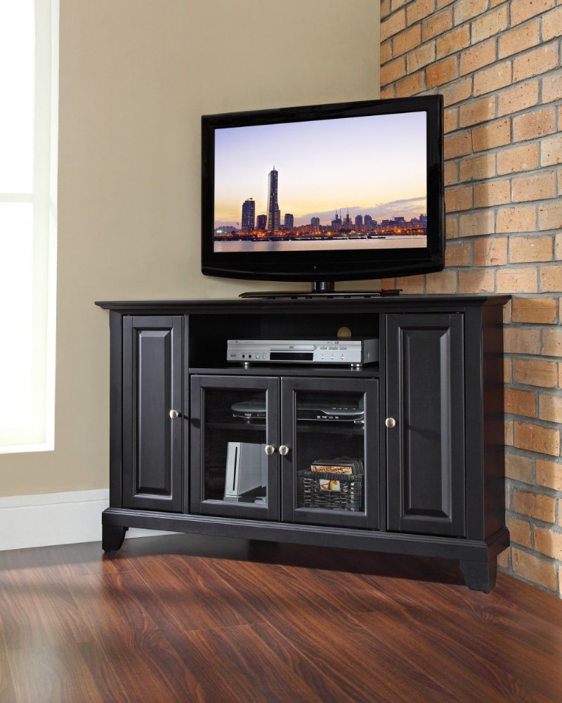 Corner TV Stand Idea Which Is Made Of Black Finished Wood