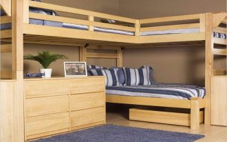Corner Wooden Sturdy Bunk Beds For Adults With Blue Rug And Bed