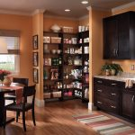 Corner Wooden Walk In Pantry Shelving Systems With Dark Wood Kitchen Set And Dining Table Chairs