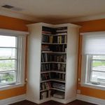 Corner tall bookshelf idea in white