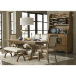 Country Style Wooden Dinette Sets With Bench And Rustic Cabinet Plus White Lamp