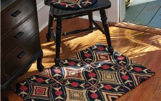 Country chair pad idea for corner wood chair in black finishing