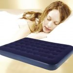 Cozy inflatable mattress in dark blue