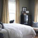 Crate And Barrel Drapes With Cool Design Pattern And White Bedding Plus Dark Corner Wooden Cabinet