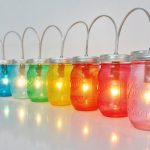 Creative and colorful jar lights as string lights for outdoor