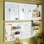 DIY Wall Organizers For Home Office With Double Long Board On Green Wall