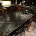 Dark Black Quartzite Countertops Pros And Cons On Kitchen Island With Wooden Cabinet