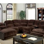 Dark Brown Recliner Sectional Sofas With Recliners And Chaise With Wooden Rectangular