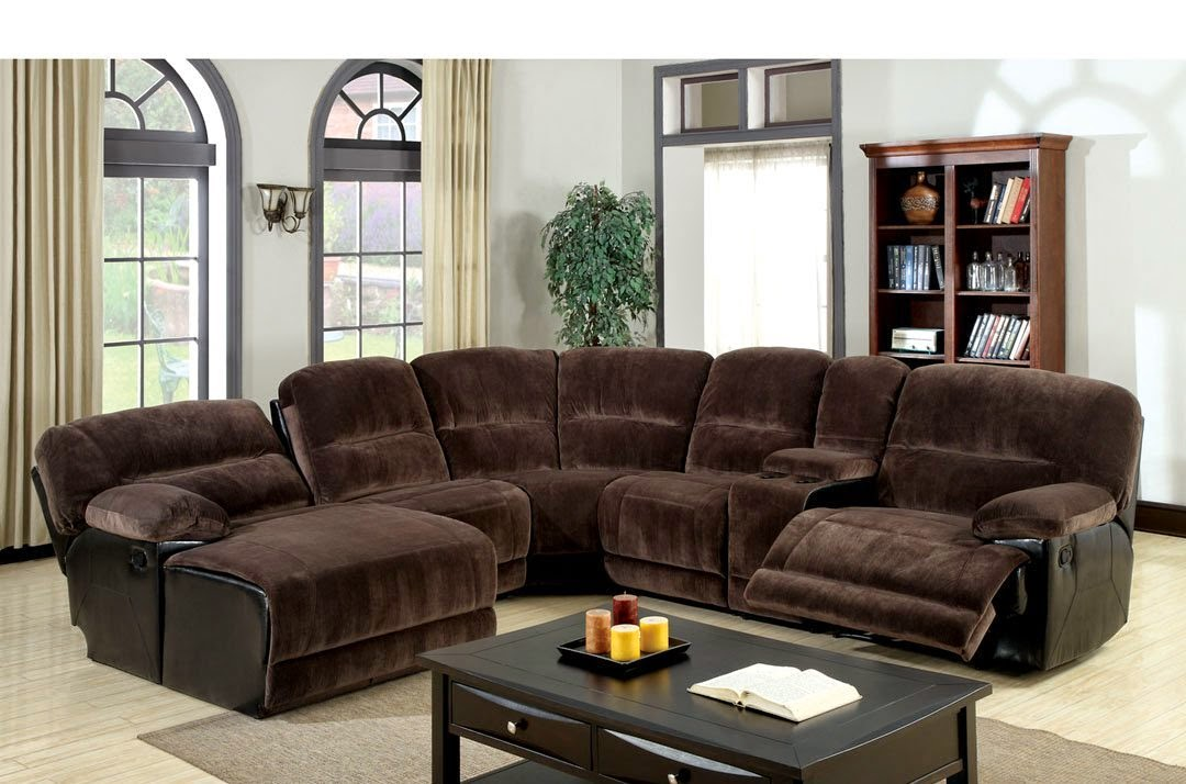 Gentil Dark Brown Recliner Sectional Sofas With Recliners And Chaise With Wooden  Rectangular