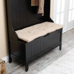 Dark Wooden Bench With Jacket Holder And White Bench Pads Indoor