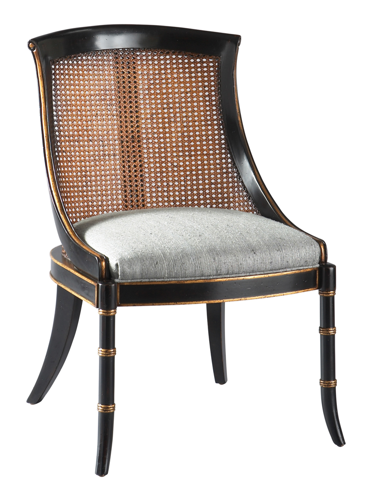 Dark Wooden Cane Back Dining Chair Design