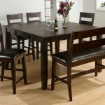 Dark Wooden Dinette Sets With Bench And Four Chairs