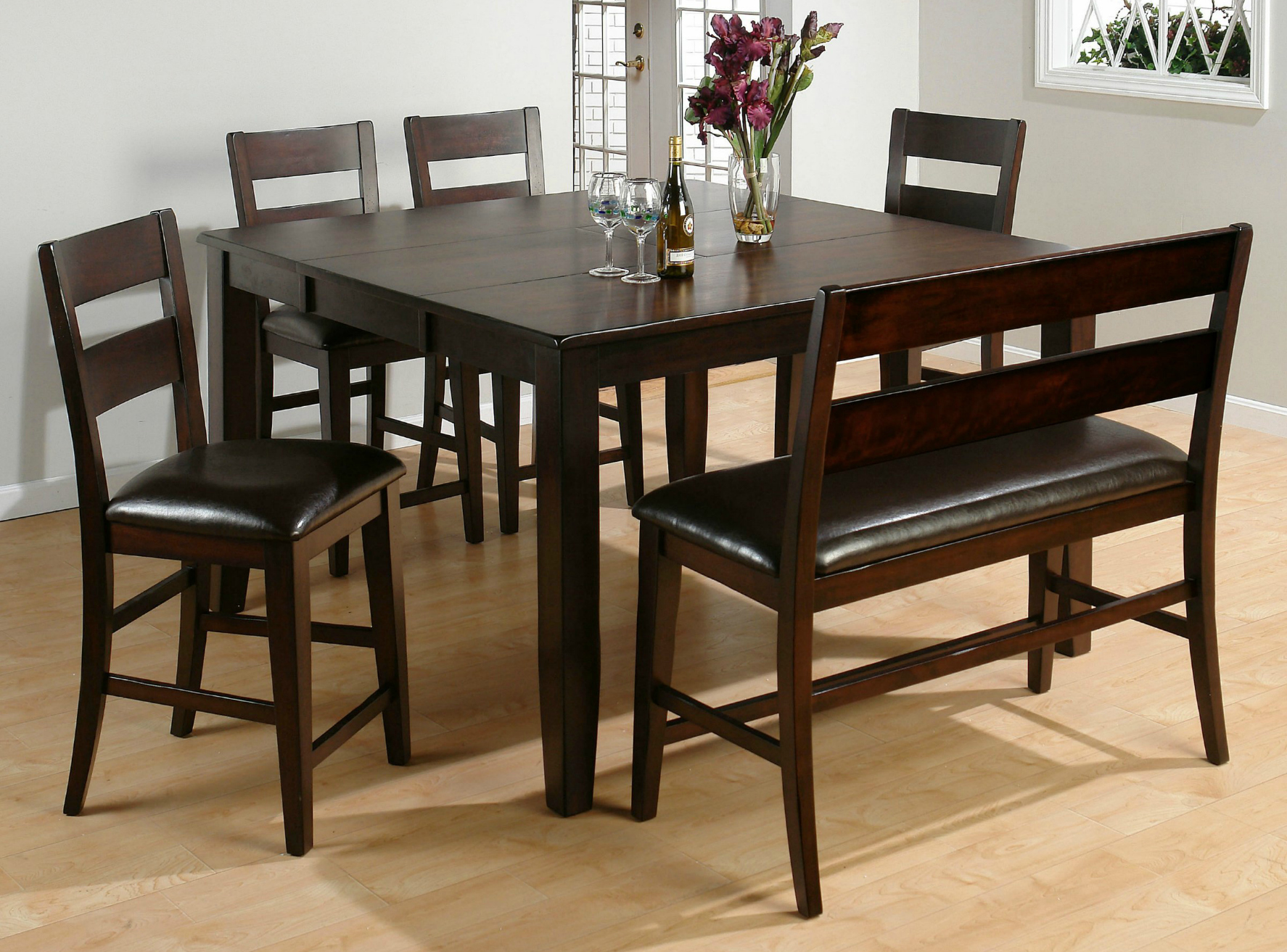 Bench seat dining set images how a kitchen table with bench seating - Dark Wooden Dinette Sets With Bench And Four Chairs Large Size Of Kitchen Table
