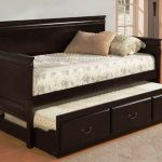 Dark Wooden Extra Long Twin Daybed With Decorative Mattress