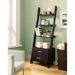 Dark Wooden Ladder Shelving Unit With Bottom Drawers