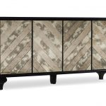 Dark Wooden Mirrored Media Console With Four Doors