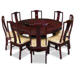 Dark Wooden Of 8 Person Round Dining Table