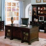 Dark Wooden Set Furniture For Home Office Ideas With Awesome Rug
