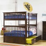 Dark Wooden Sturdy Bunk Beds For Adults With Storage Place