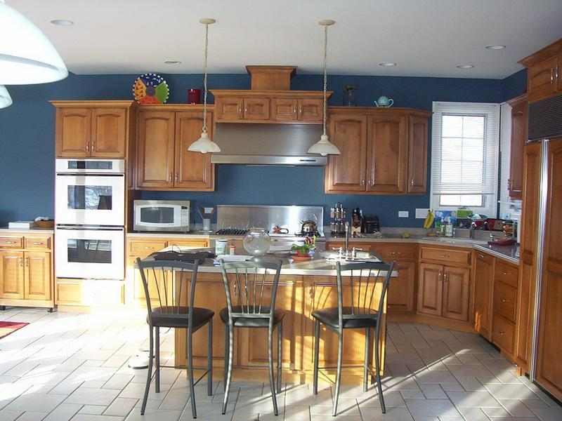 Dark Blue Wall Painting Idea For Kitchen Clear Finished Wood Kitchen  Cabinets White Top Kitchen Island