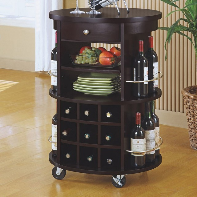 dark brown finished wood bar cart in round shape with wheels and wine rack - Dining Room Serving Carts