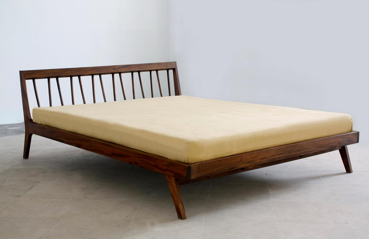 dark brown finished wood bed frame with unique headboard in minimalist style - Modern Metal Bed Frame