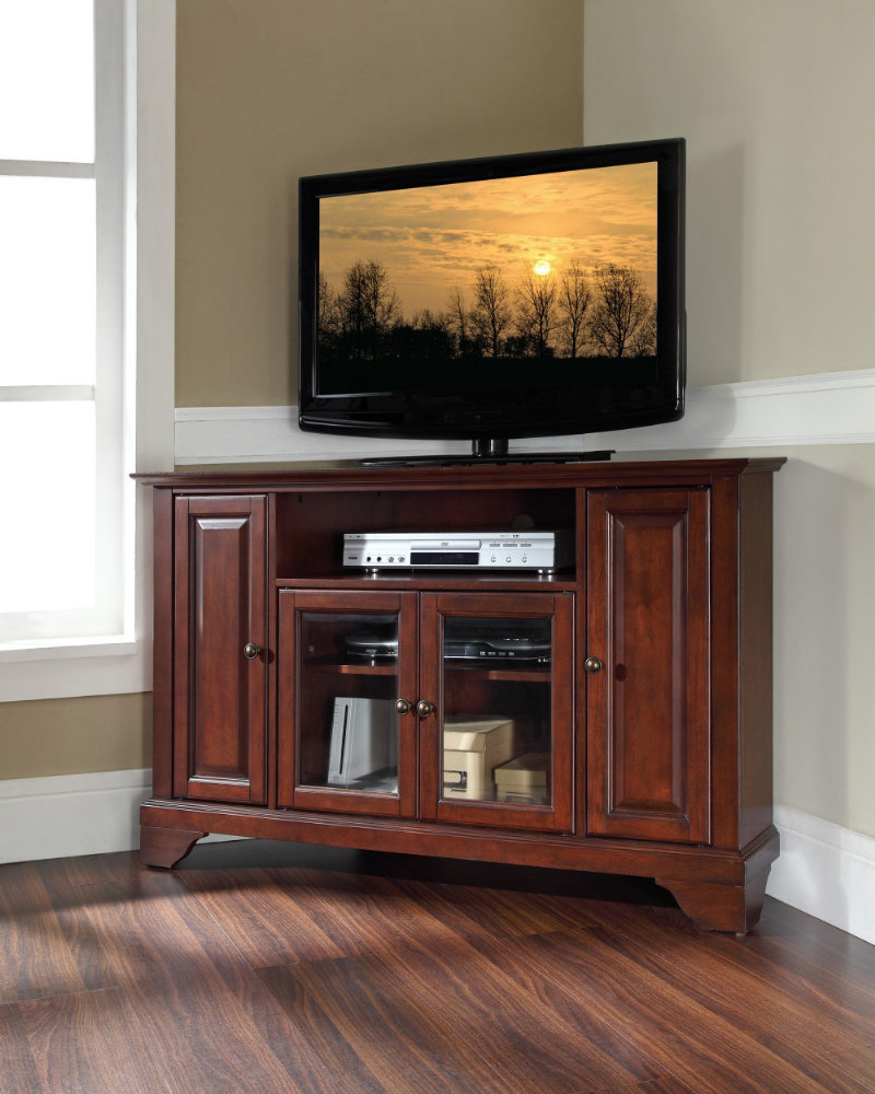 tv table with under glass door rack and cabinets for corner area