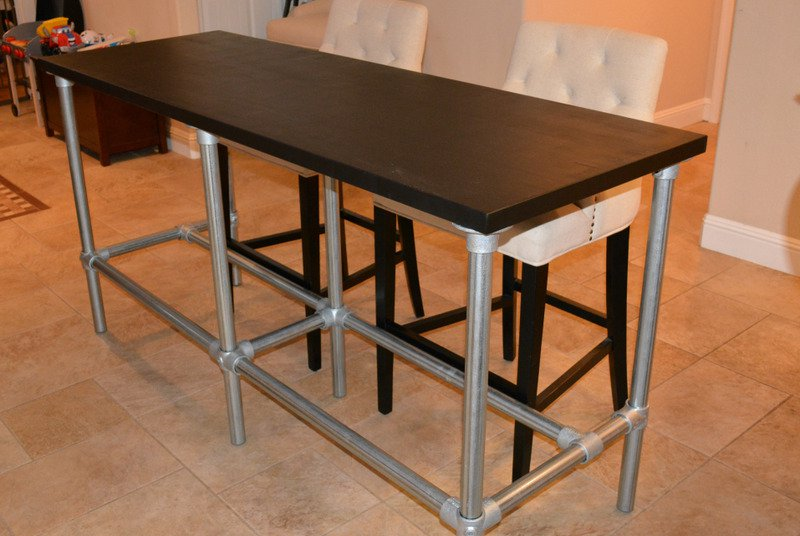 Counter Height Desk Ikea : Dark finished wood counter table top idea with lightweight metal legs ...