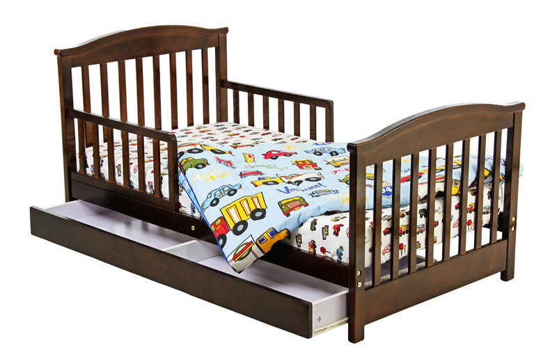Dark Finished Wooden Toddler Size Bed Design With Side Rails And Under  Storage