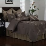 Dark grey comforter set with floral motif for cal king bed size modern black bedside table with white table lamp