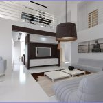 Dark lampshade for a modern pendant lamp in modern living room