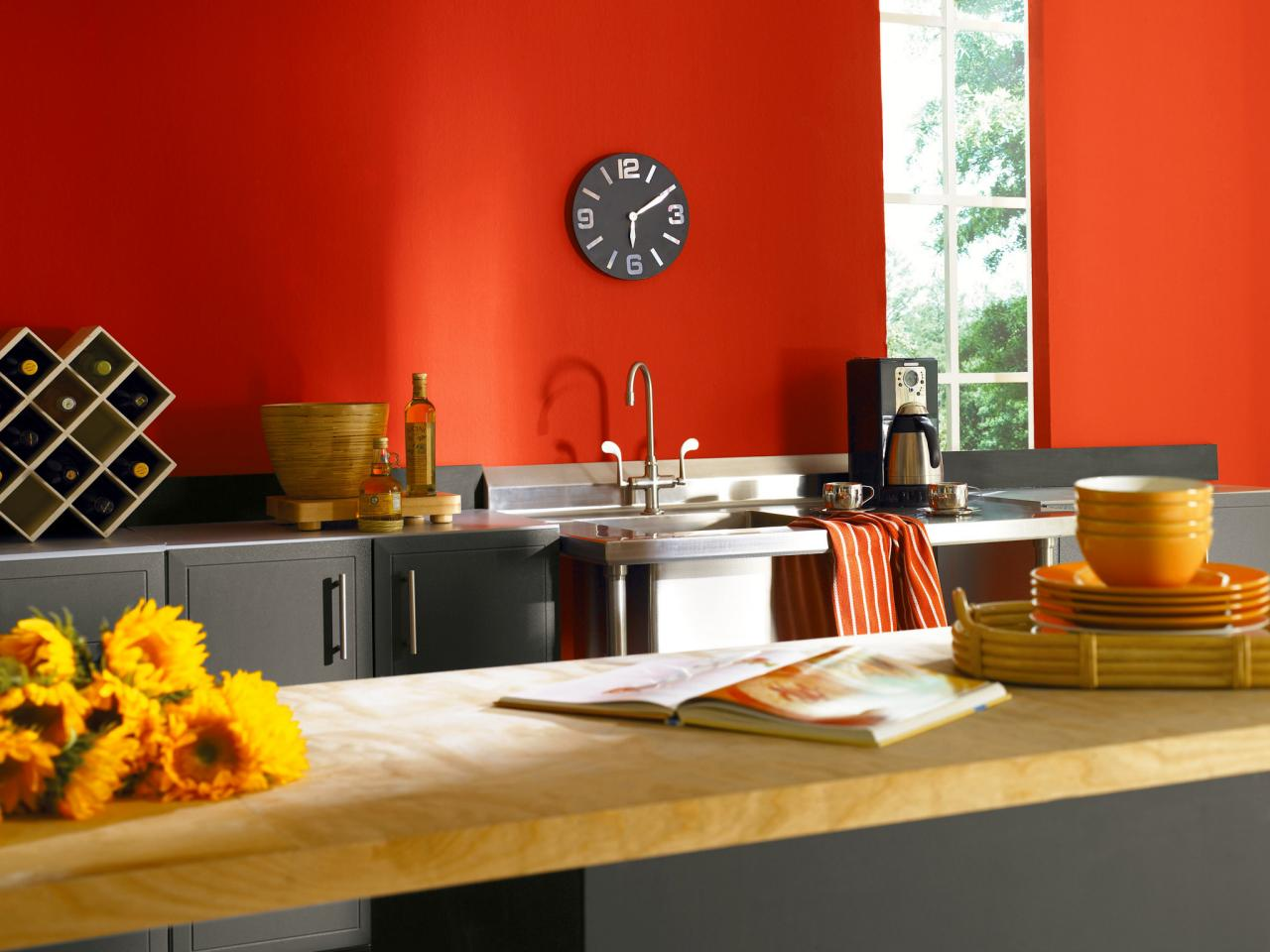 Dark Red Hue For Kitchen Wall Black Clock In Minimalist Model Grey Cabinets