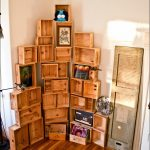 Decorative corner rack made of a lot of wine crates