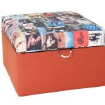 Deep orange Ottoman with unique top idea