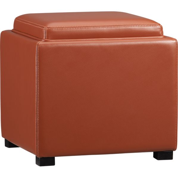 Deep orange storage Ottoman in round top shape - Orange Storage Ottoman: Stylish And Functional Storage Idea