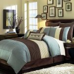 Dillards Bedroom Furniture With Brown Blue White Bedding And Fur Rug