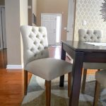 Dining Room With Wooden Rectangular Table And White Parsons Chairs Target