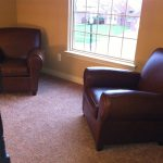 Double Brown Leather Pottery Barn Manhattan Sofa