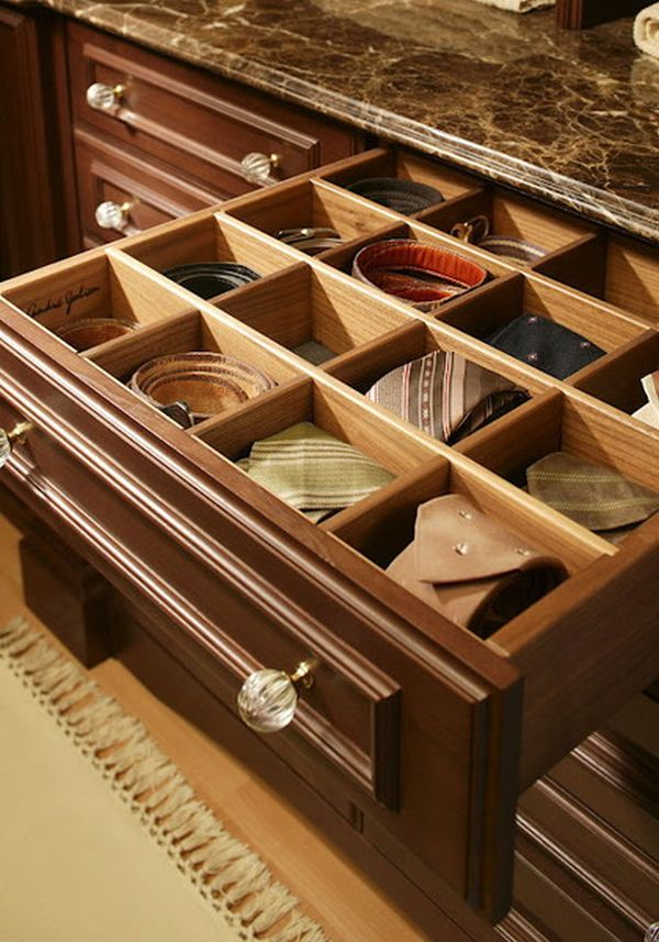 Drawers Of Belt Storage Ideas For Men