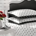 Elegant Black And White Polka Dot Sheets With White Black Bed Frame And White Side Table Plus White Table Lamp