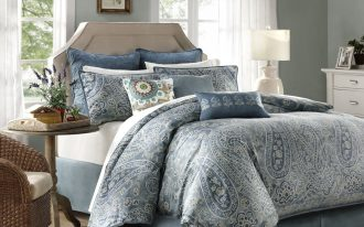 Elegant Blue White Patterned For Harbour House Bedding With Round SIde Table And Decorative Rug