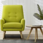Elegant Lime Green Accent Chair With Arm And Wooden Side Table Plus Grey Rug And Plant