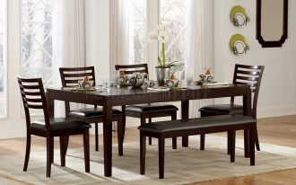 Elegant Wooden Espresso Color Of Dinette Sets With Bench Plus Cream Rug And White Curtains