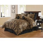 Elegant black and gold bed comforter set product for modern bed frame a black wood bedside table