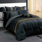 Elegant black bed comforter idea with gold stripe ornaments