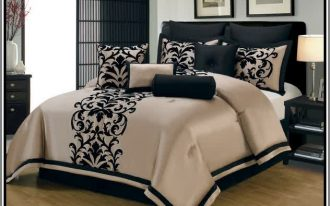 Elegant cal king comforter set in light brown with beautiful black floral motif